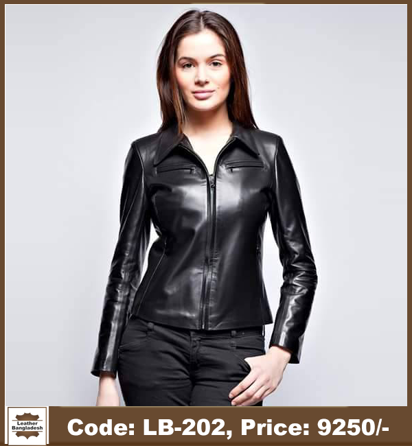 c9560e6d26b Latest Hot Ladies Biker Genuine Leather Jacket - Leather Bangladesh
