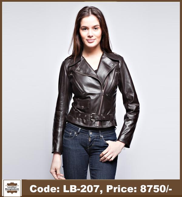 Latest Hot Biker Ladies Genuine Leather Jacket 1